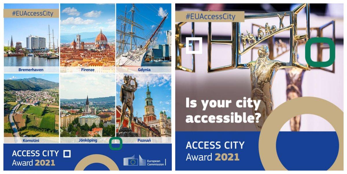 Kolaż zdjęć: sześć finałowych miast konkursu Access City Award 2021 - Gdynia, Poznań, Bremerhaven, Florencja, Jönköping, Komotini; statuetka przyznawana jako nagroda Access City Award. Źródło: Access City Award