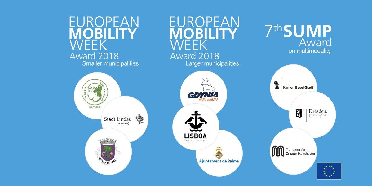 Tegoroczni nominowani do nagród European Mobility Week Award 2018, mat. prasowe