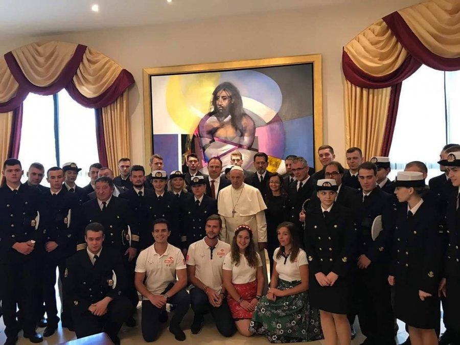 Uczestnicy Rejsu Niepodległości na audiencji u papieża Franciszka // fot. Biuro Prasowe Watykanu