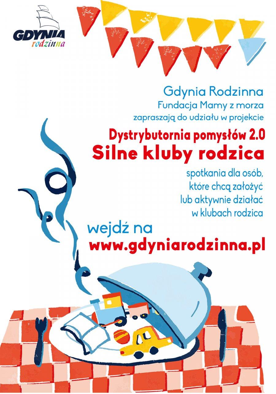 Plakat zaowiadający cykl spotkań Dystrybutornia Pomysłów 2.0. – Silne Kluby Rodzica