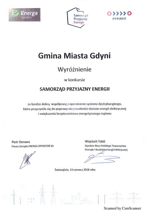"""Wyróżnienie zostało przyznane w trakcie konferencji """"Energetyczne wyzwania samorządów""""."""