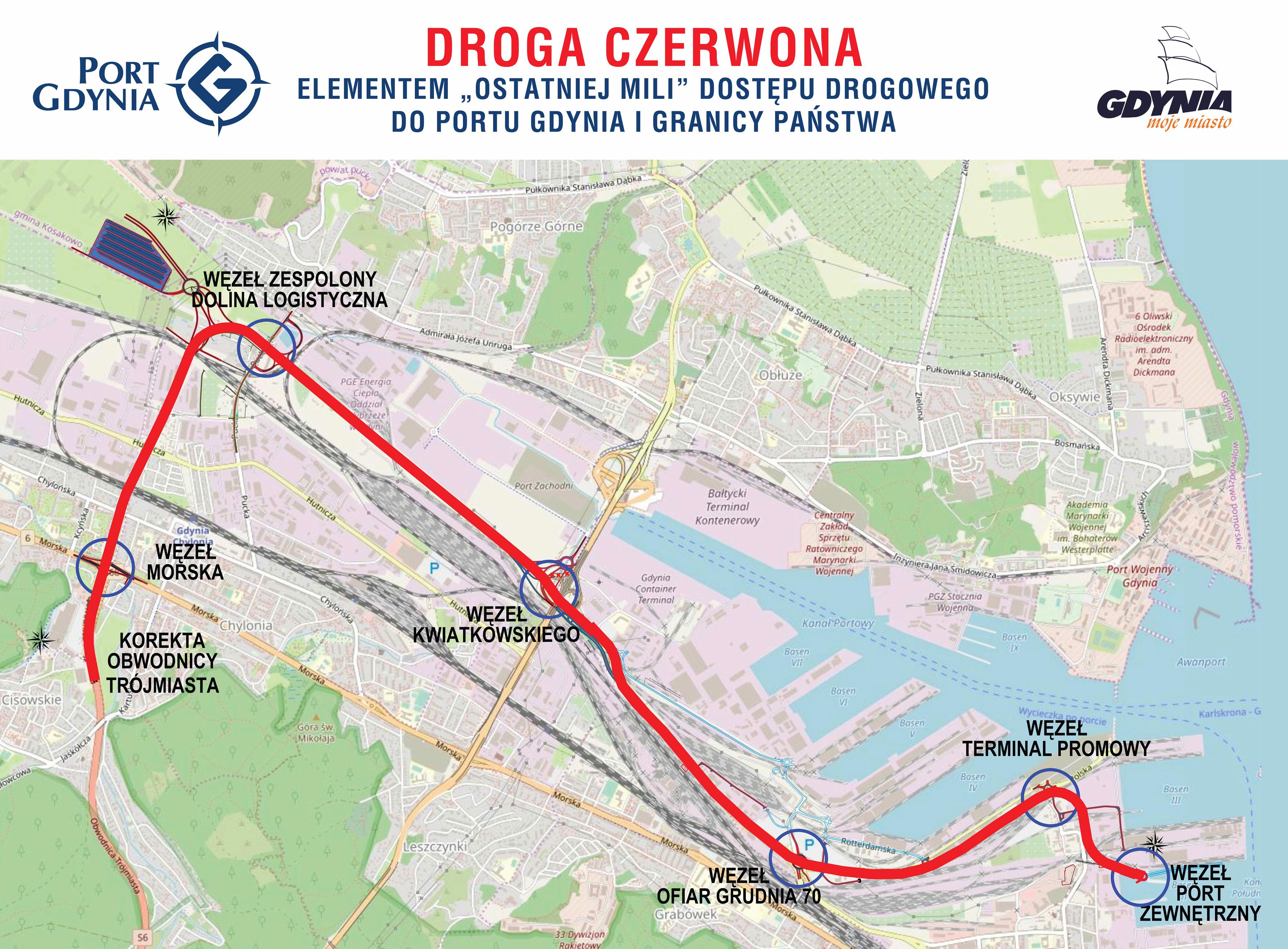 Fragment mapy Gdyni z zaznaczonym na czerwono planowanym przebiegiem Drogi Czerwonej, mat. prasowe