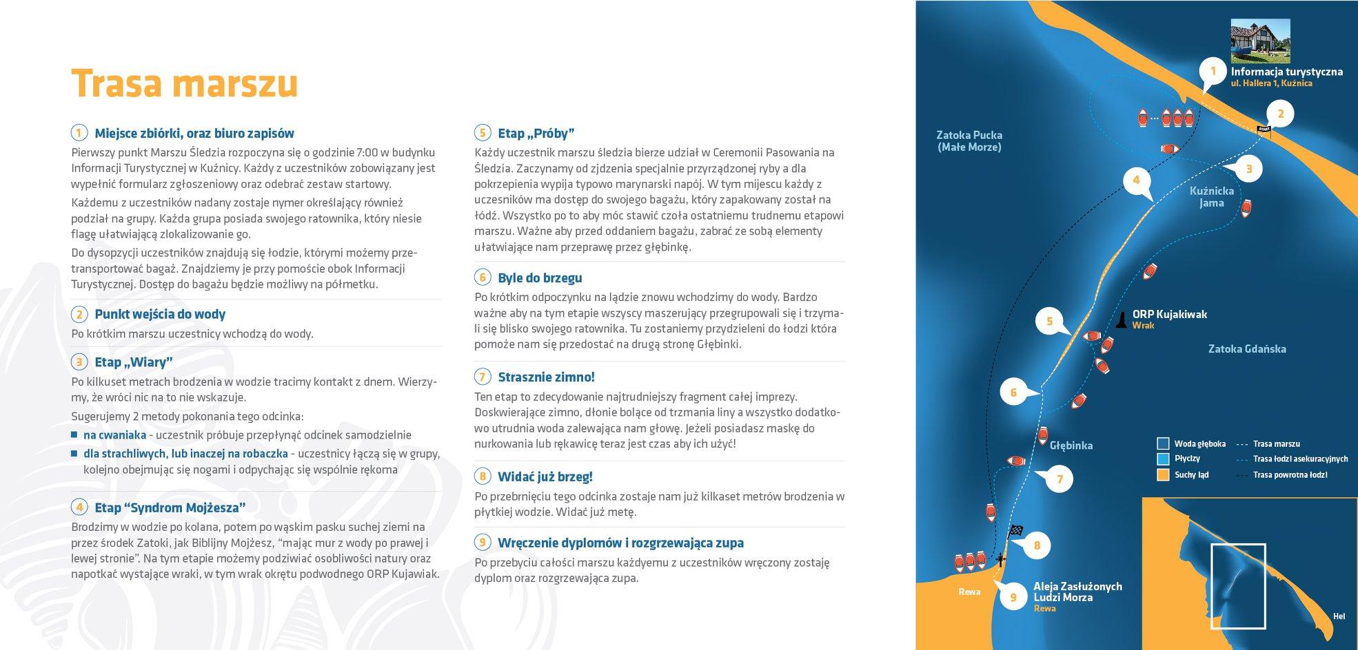 Mapka trasy i opis poszczególnych etapów marszu // fot. facebook.com/marszsledzia