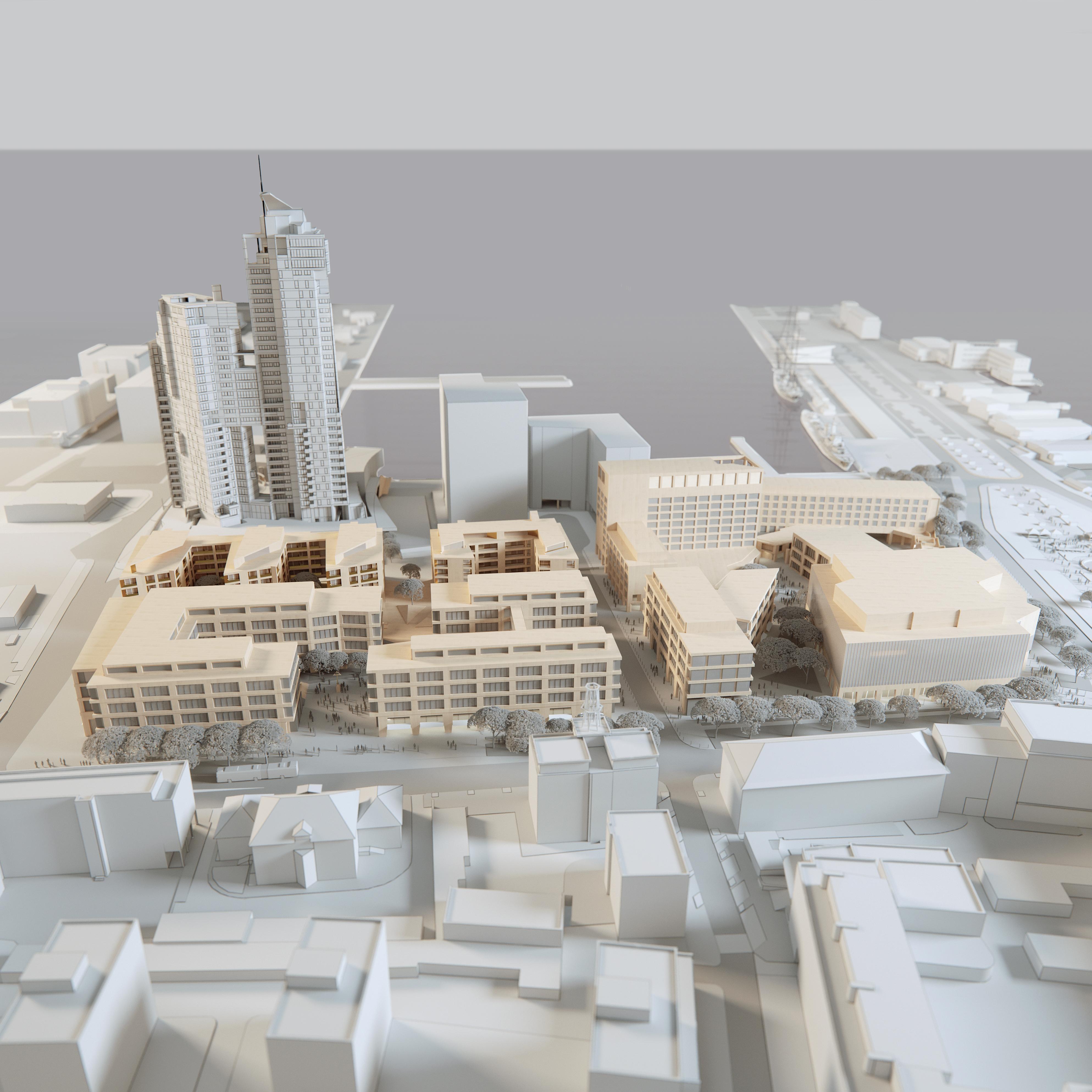 Wizualizacja przedstawiająca Gdynia Waterfront, inwestycję Vastintu, fot. Vastint Poland