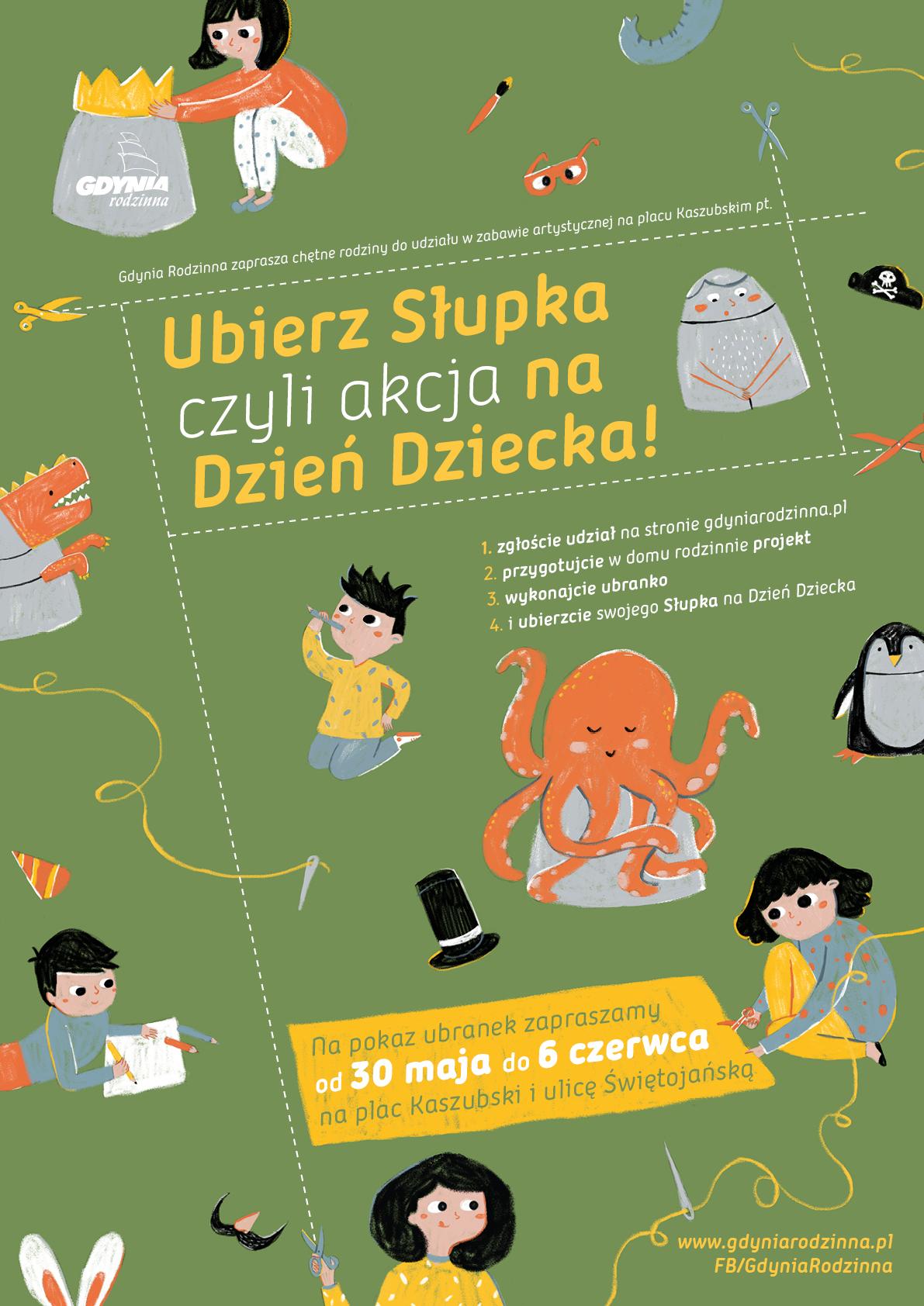 Plakat promujący akcję zawierający te same elementy graficzne co ilustracja z tekstu wraz z krótką informacją o tym, na czym akcja polega, terminami oraz danymi organizatora, czyli Gdyni Rodzinnej