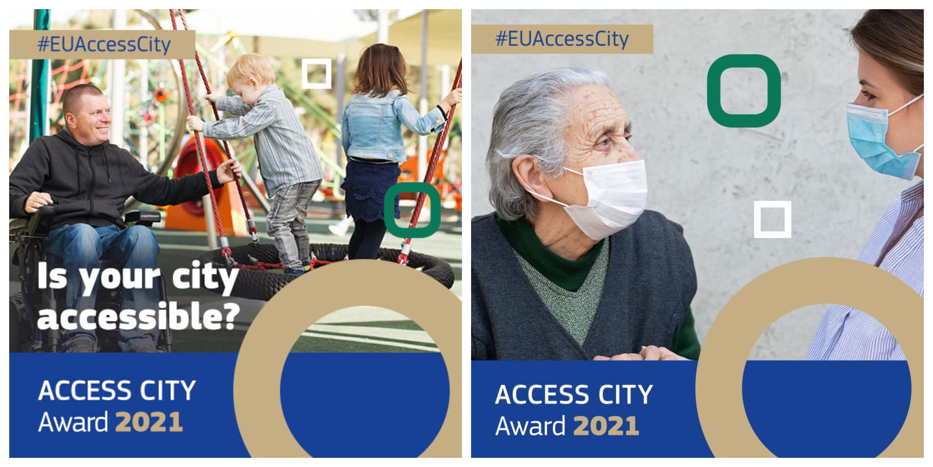 Kolaż zdjęć: mężczyzna z niepełnosprawnością na wózku bawi się na placu zabaw z dzieckiem; seniorka w maseczce ochronnej rozmawia z młodą kobietą w maseczce. Źródło: Access City Award