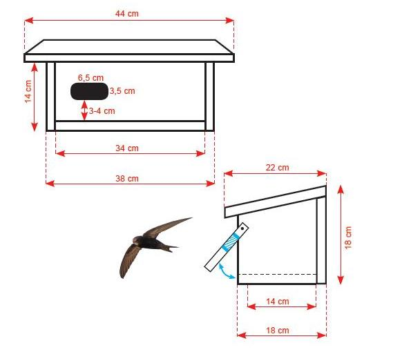 Schemat konstrukcji budki lęgowej