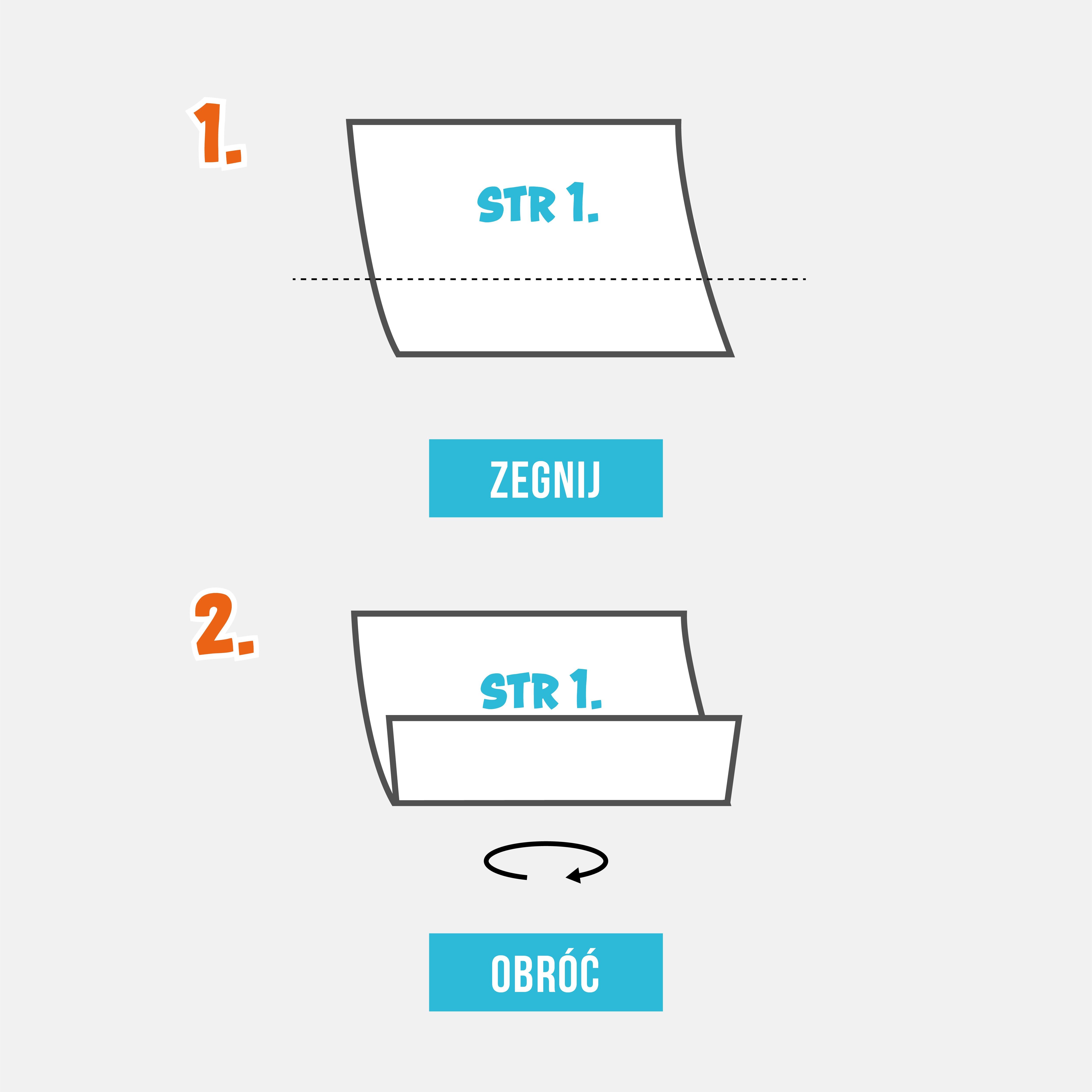 Krok 1 i 2 robienia torebki z papieru.  Kartkę gazety zegnij ⅓ od spodu. Obróć papier na drugą stronę.