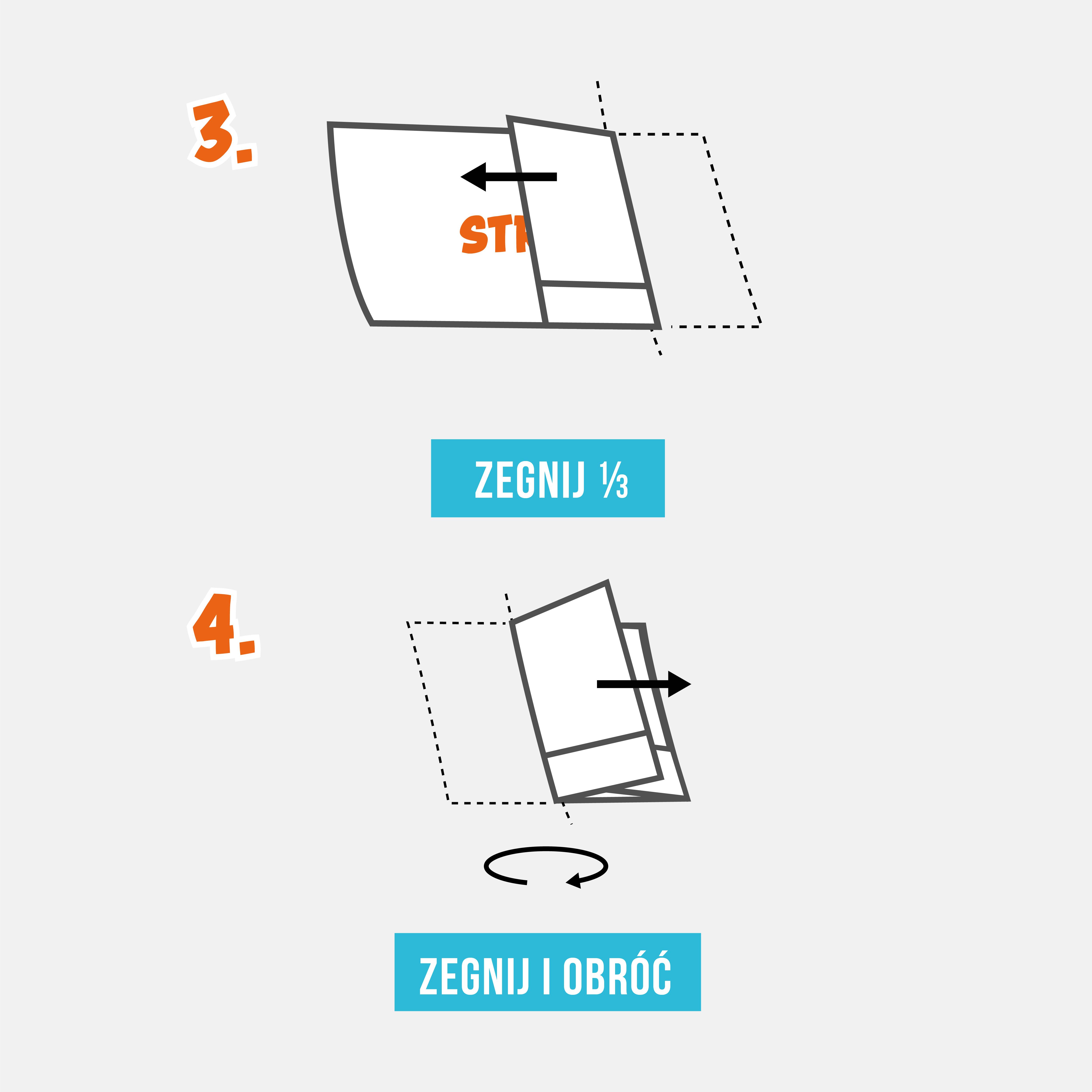 Krok 3. Złóż prawą stronę w taki sposób, aby miała taki sam rozmiar jak niezłożona lewa strona.  Krok 4. Złóż lewą stronę i nałóż ją na złożoną prawą stronę. Następnie obróć papier na drugą stronę.