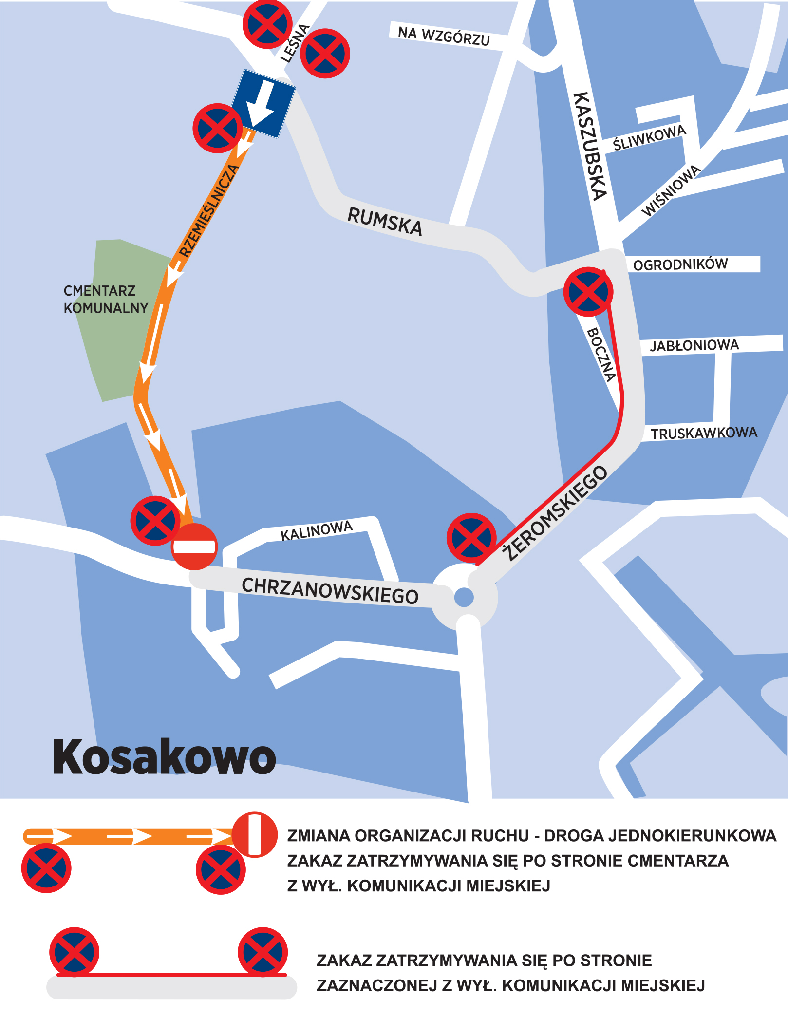 grafika przedstawia zmiany w organizacji ruchu w rejonie cmentarza Kosakowo