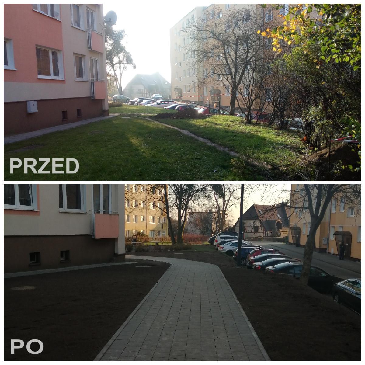Ścieżka przzy ul. Powst. Śląskiego przed i po remoncie