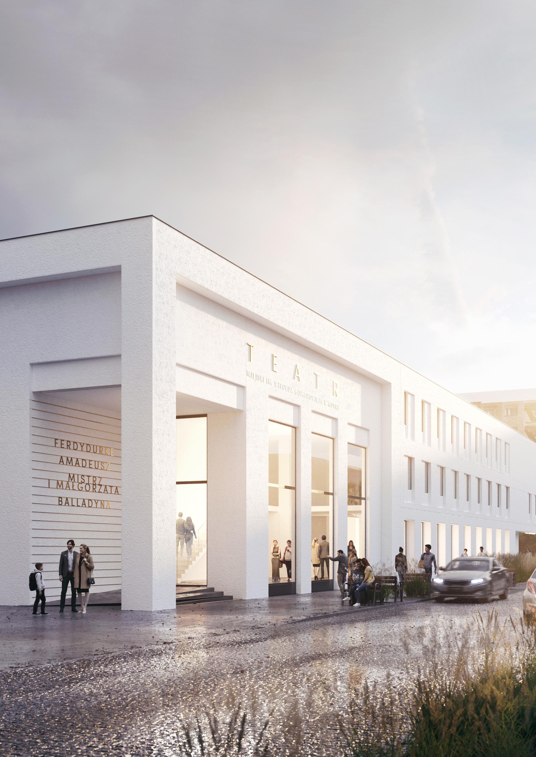 Wejście główne, prowadzące bezpośrednio do foyer, zostanie przesunięte w stronę Urzędu Miasta, fot. materiały prasowefot. materiały prasowe pracowni WXCA Sp. z o.o.