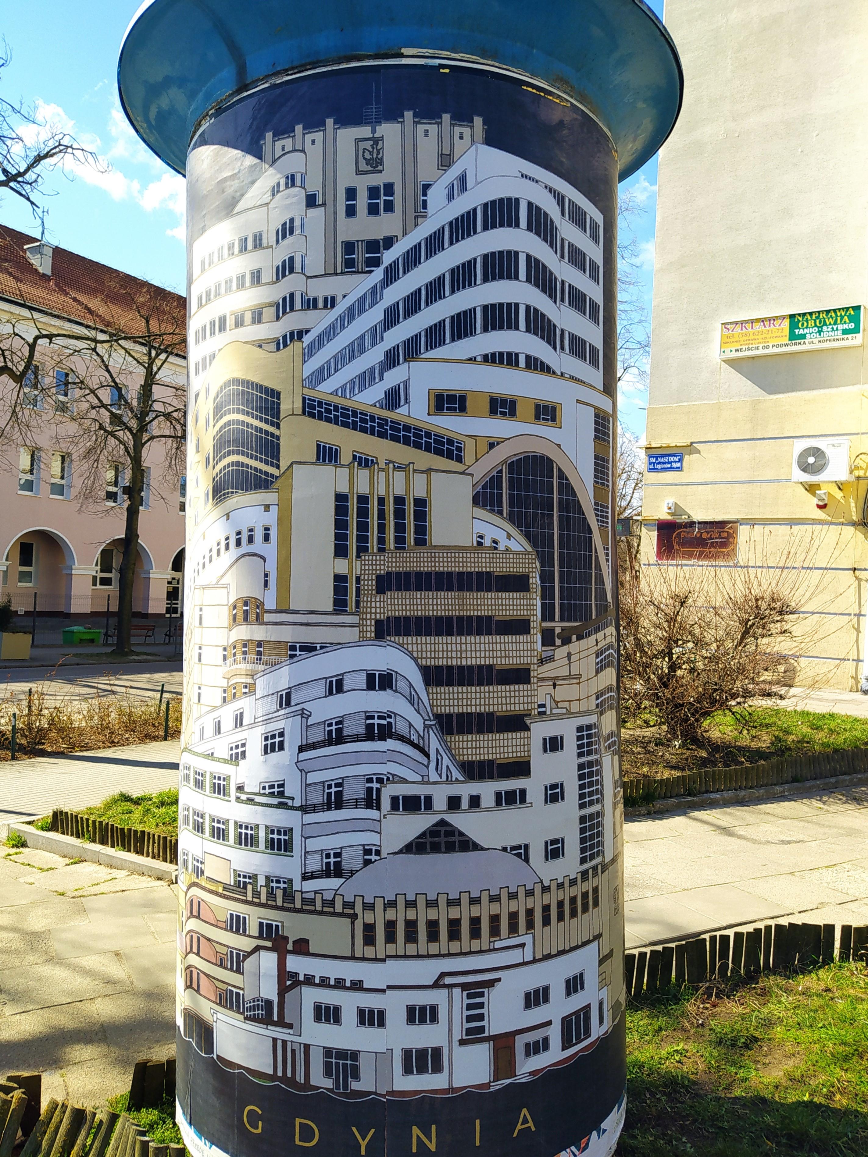 Plakat Jana Rutki: modernistyczne budynki i statek Batory.