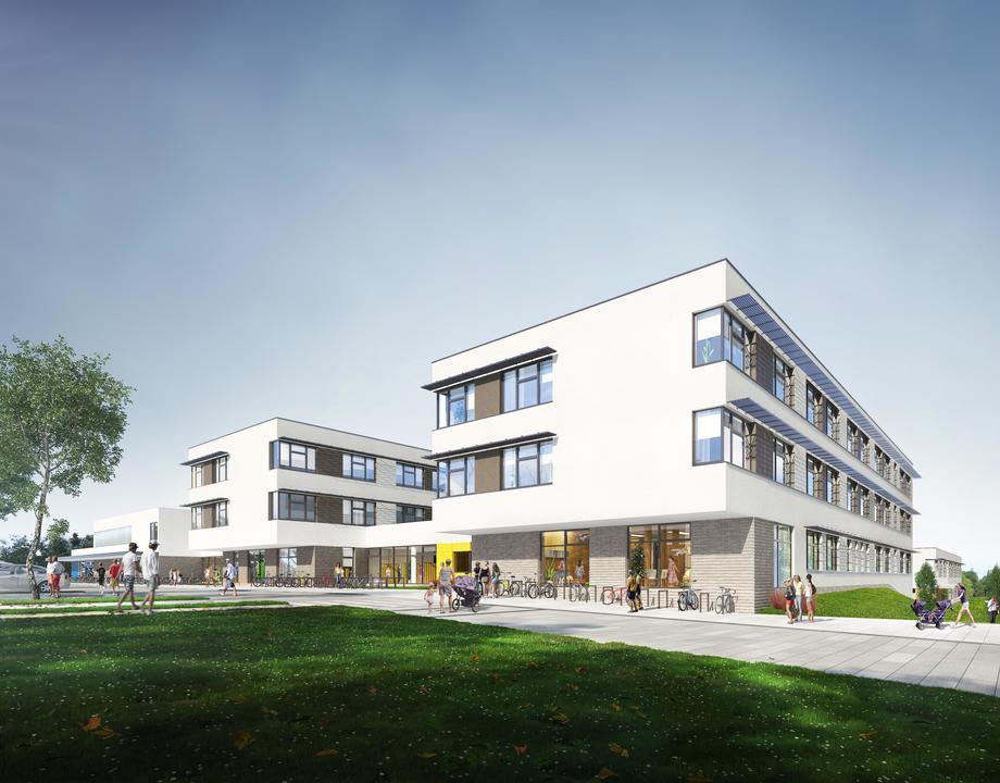 Wizualizacje nowego kompleksu oświatowego w dzielnicy Chwarzno-Wiczlino, fot. mat. prasowe