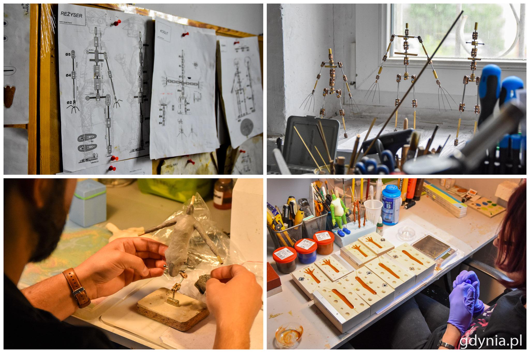 Proces powstawania postaci: od rysunku, przez metalowy szkielet, rzeźbę, aż po wykonanie silikonowych odlewów kończyn // fot. Paweł Kukla