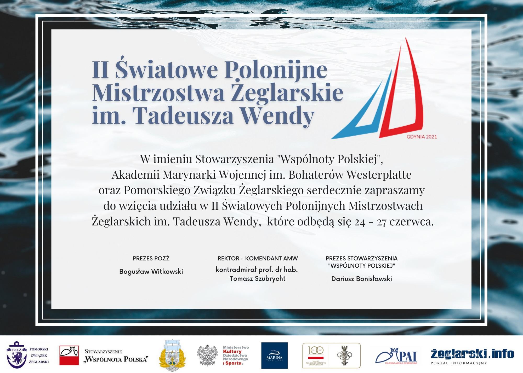 Zaproszenie na II Światowe Polonijne Mistrzostwa Żeglarskie im. Tadeusza Wendy na Jachcie 2020
