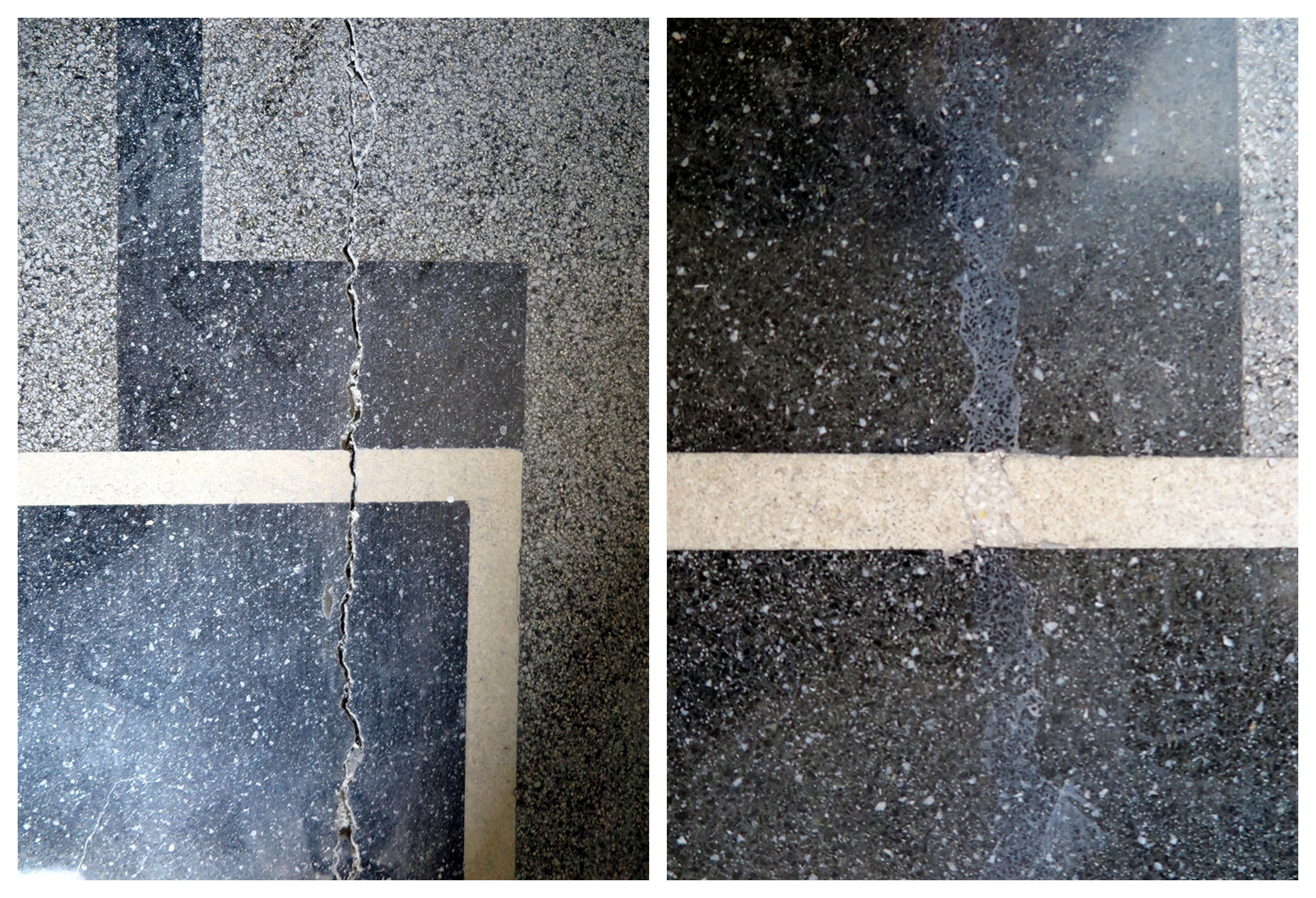 Efekty prac konserwatorskich przy posadzce w klatce schodowej w kamienicy przy ul. Abrahama 28, przed i po uzupełnieniu spękań.