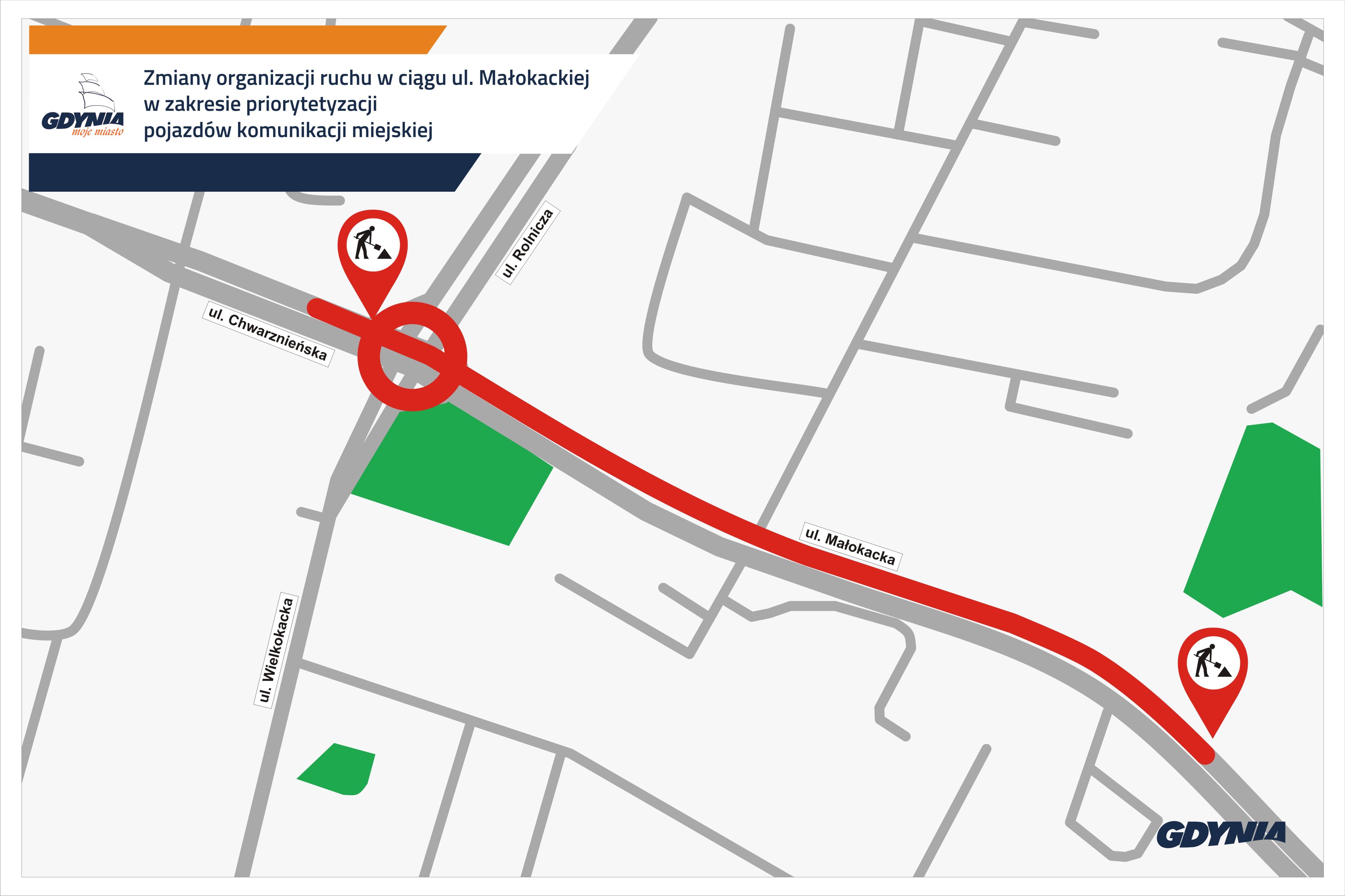 Mapa prezentuje nowy fragment buspasa w ulicy Małokackiej