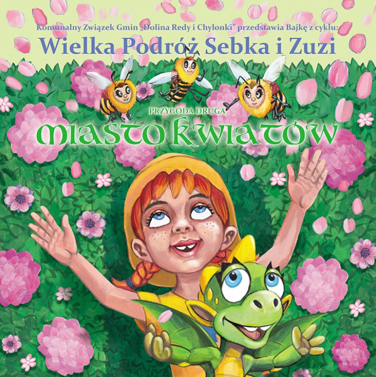 Na zdjęciu okładka jednej z bajek ekologicznych: dziewczynka, pszczoły i mały smok na tle kwiatów//mat. pras. KZG