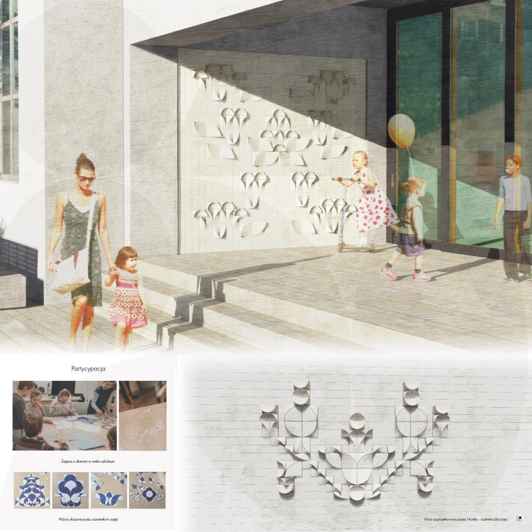 """Wizualizacja ściany budynku z różnymi wzorami. Wyróżnienie w kategorii architektura. Autorka: Sara Saltarska. Projekt: """"Mozaika ceramiczna dla szkoły podstawowej. Motyw regionalny"""" // materiały organizatorów"""
