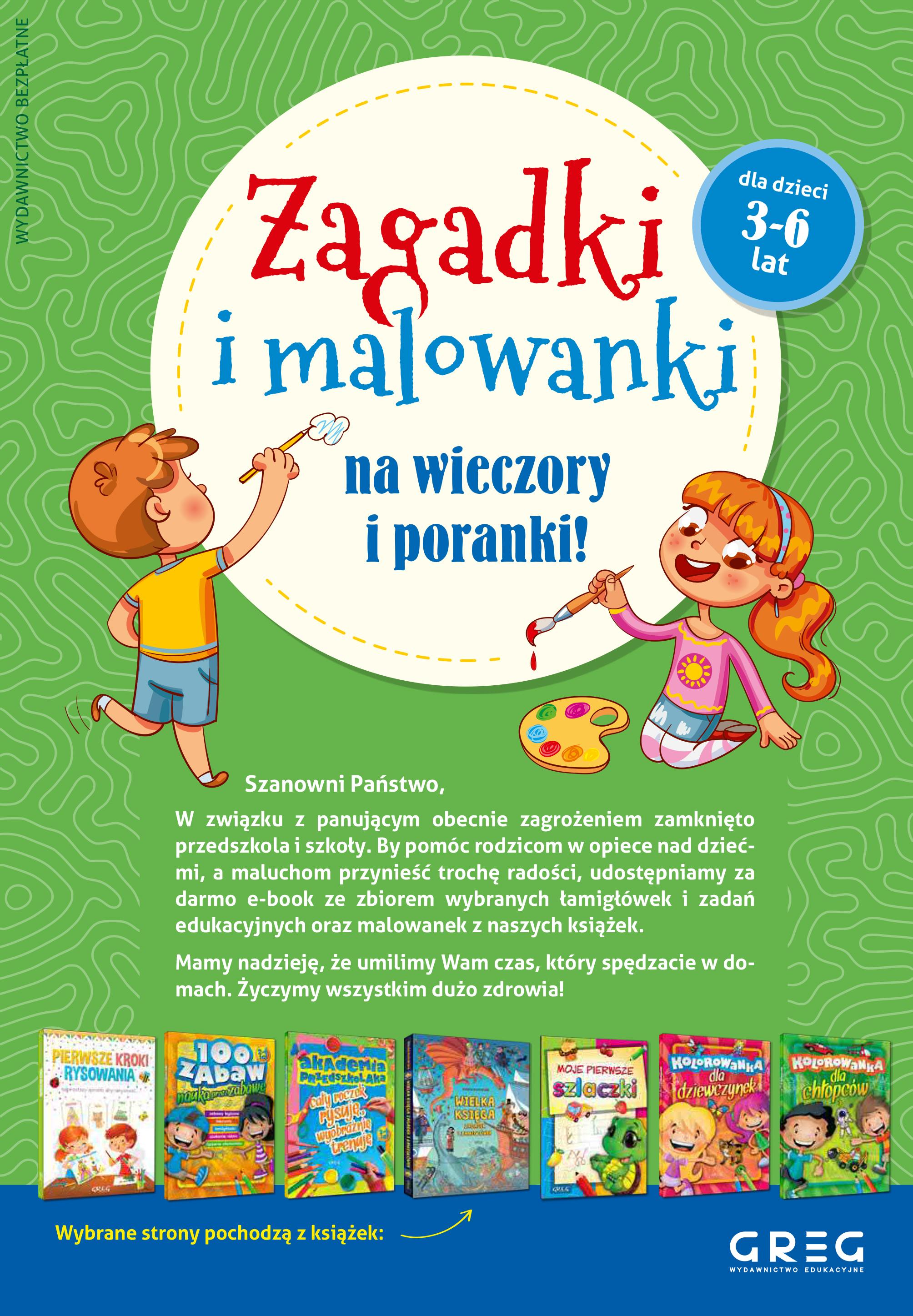 Łamigłówki i malowanki dla dzieci w wieku 3-6 lat od wydawnictwo GREG