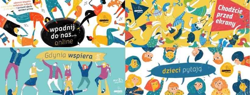 Kolaż czterech grafik Gdyni Rodzinnej. Od lewej u góry: Wpadnij do nas online, Chodźcie przed ekrany, Dzieci pytają i Gdynia wspiera.