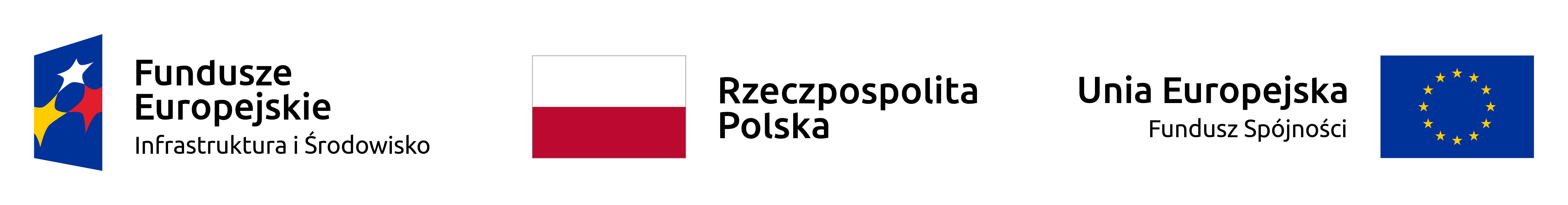 Baner, na którym widnieje logo: Fundusze Europejskie Infrastruktura i Środowisko, flaga Polski i napis Rzeczpospolita Polska, Flaga UE i napis Unia Europejska Fundusz Spójności