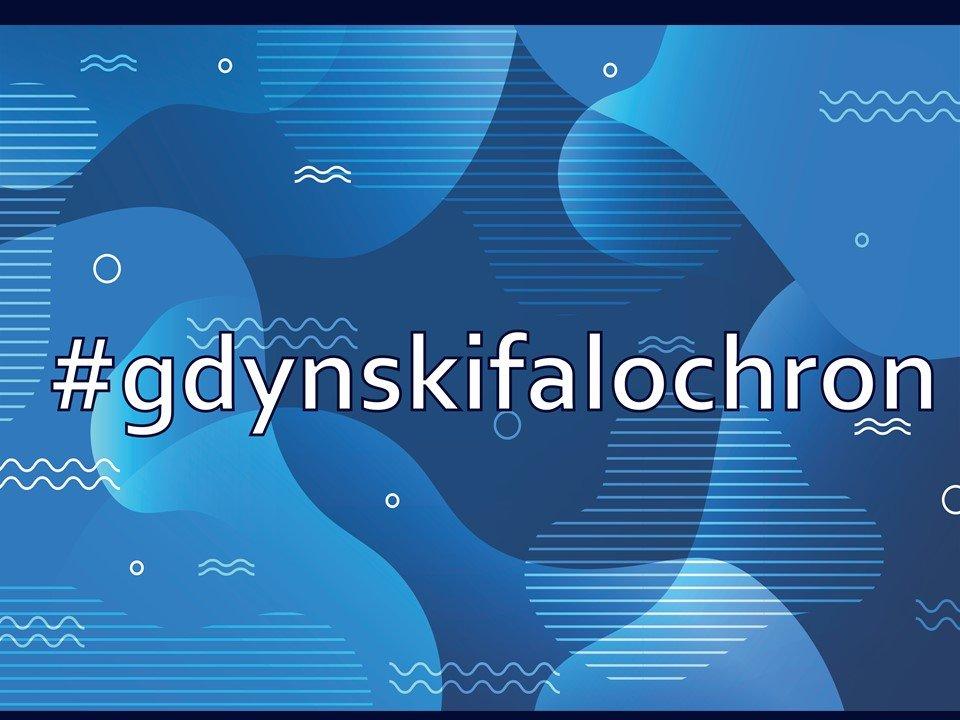 Grafika programu Falochron. Na niebieskim tle widnieje napis: gdyński falochron