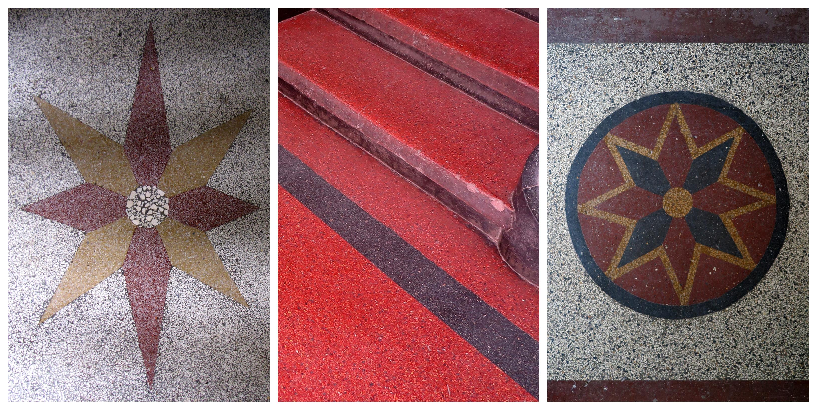 Motyw dekoracyjny z lastryka w budynku przy ul. Mickiewicza 33; 2.Jaskrawe lastryko w kamienicy przy ul. Starowiejskiej 52; Posadzka w sieni klatki schodowej w kamienicy przy ul. Starowiejskiej 47