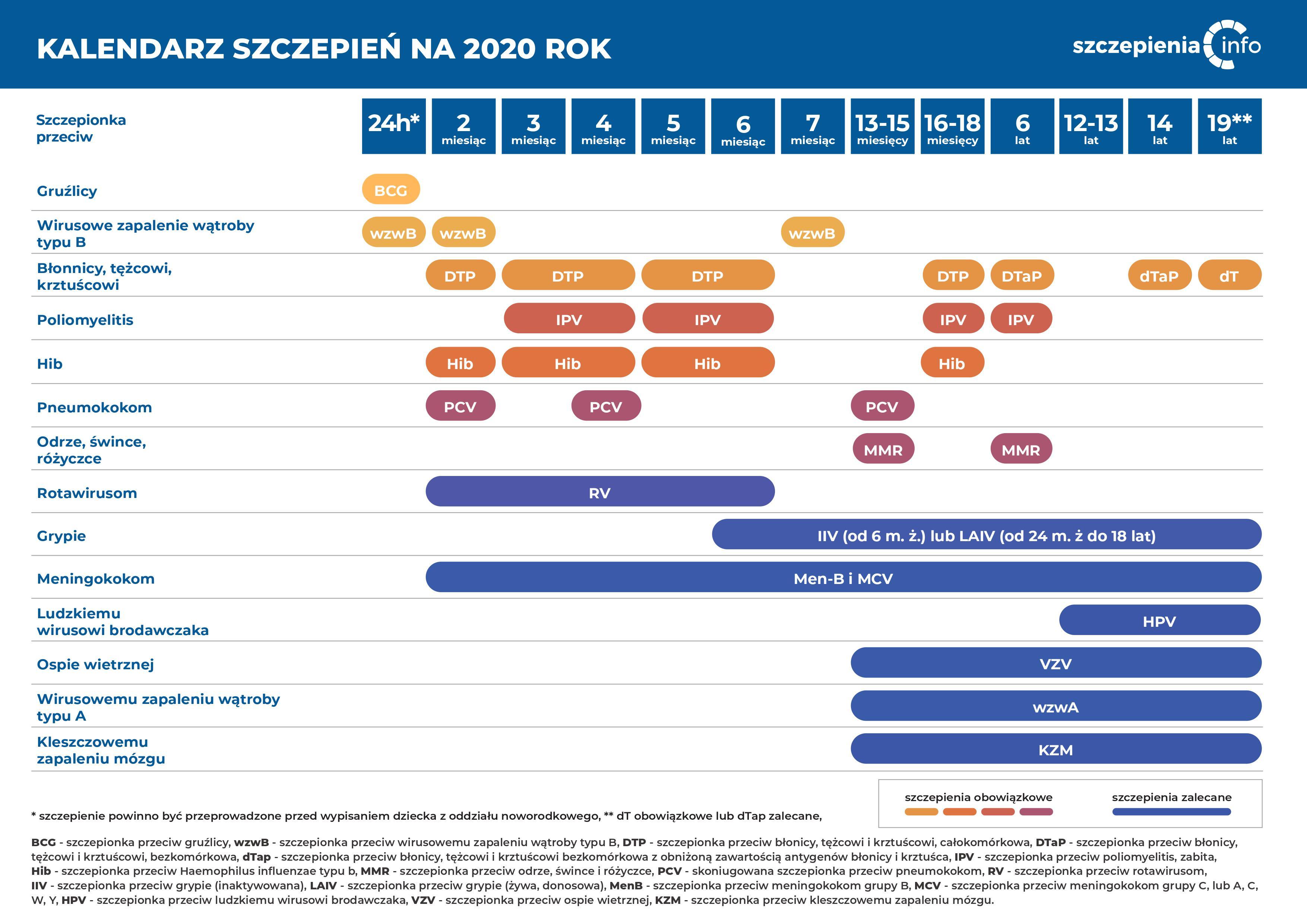 Kalendarz szczepień na 2020 rok. Źródło: szczepienia.pzh.gov.pl