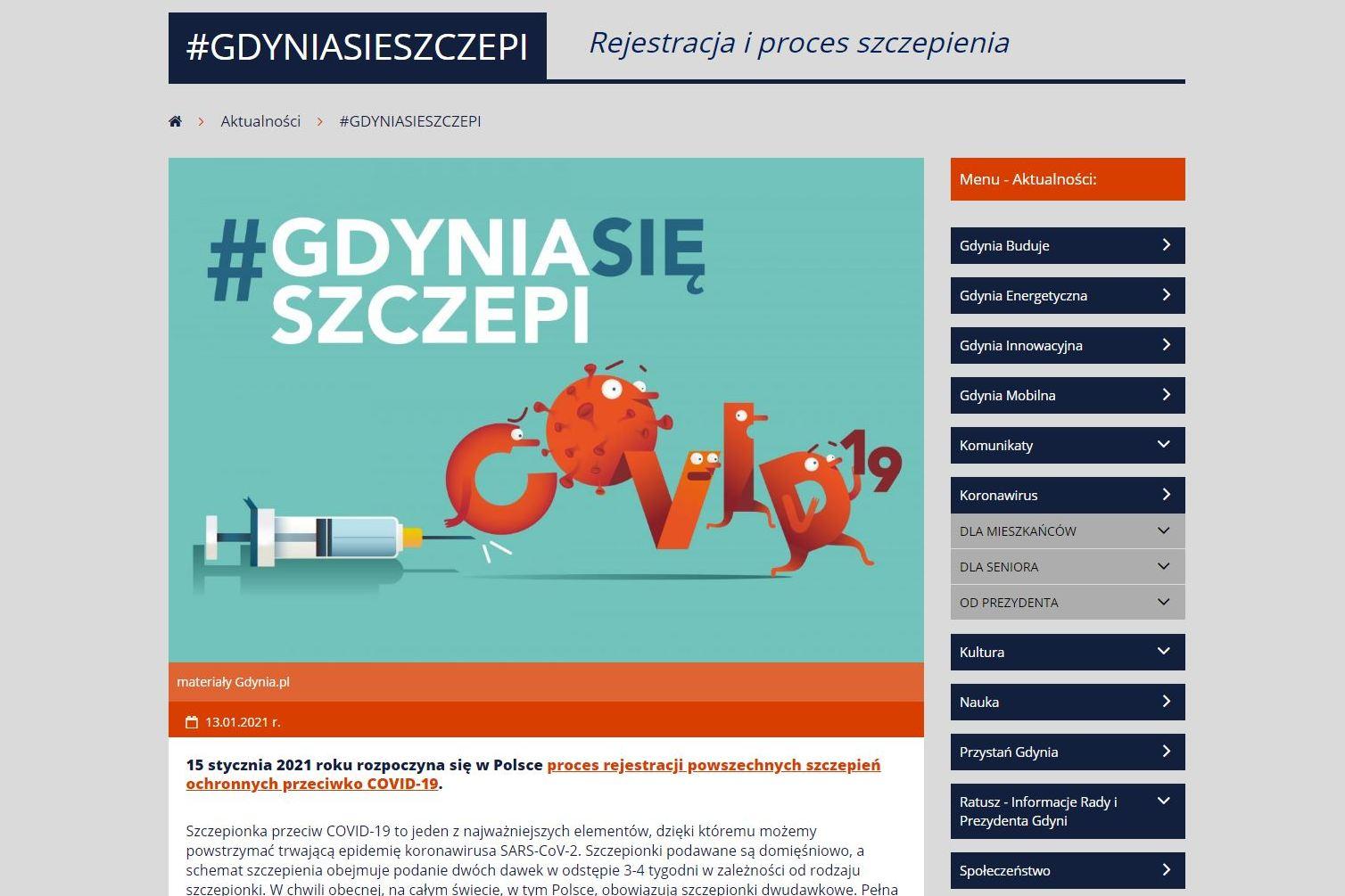 Zrzut ekranu strony GdyniaSięSzczepi