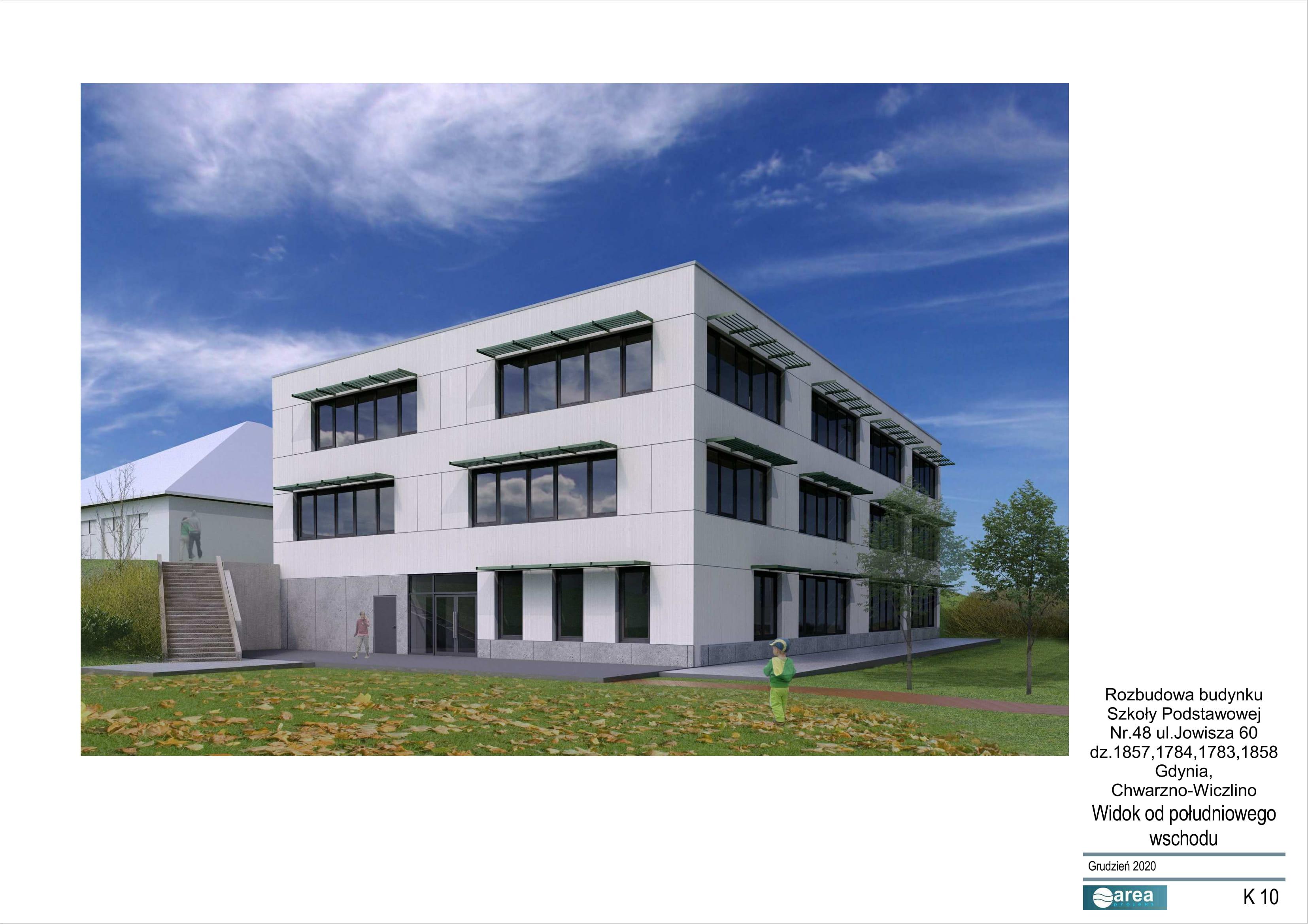 Projekt budynku, który powstanie w ramach rozbudowy SP nr 48 // materiały UM Gdyni