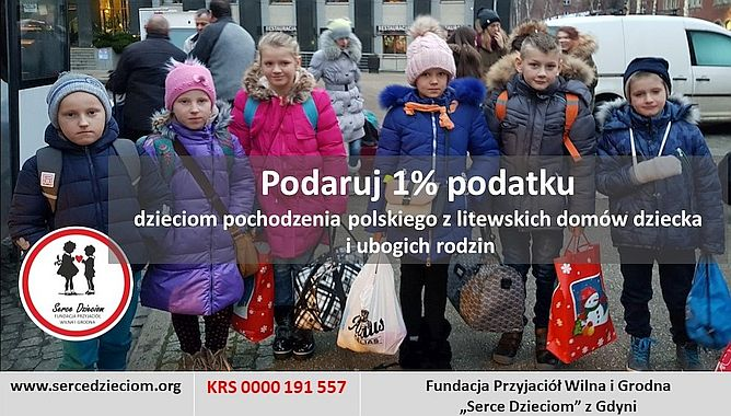 """Plakat z informacją o przekazaniu 1% dla fundacji """"Serce dzieciom""""/ mat. fundacji"""