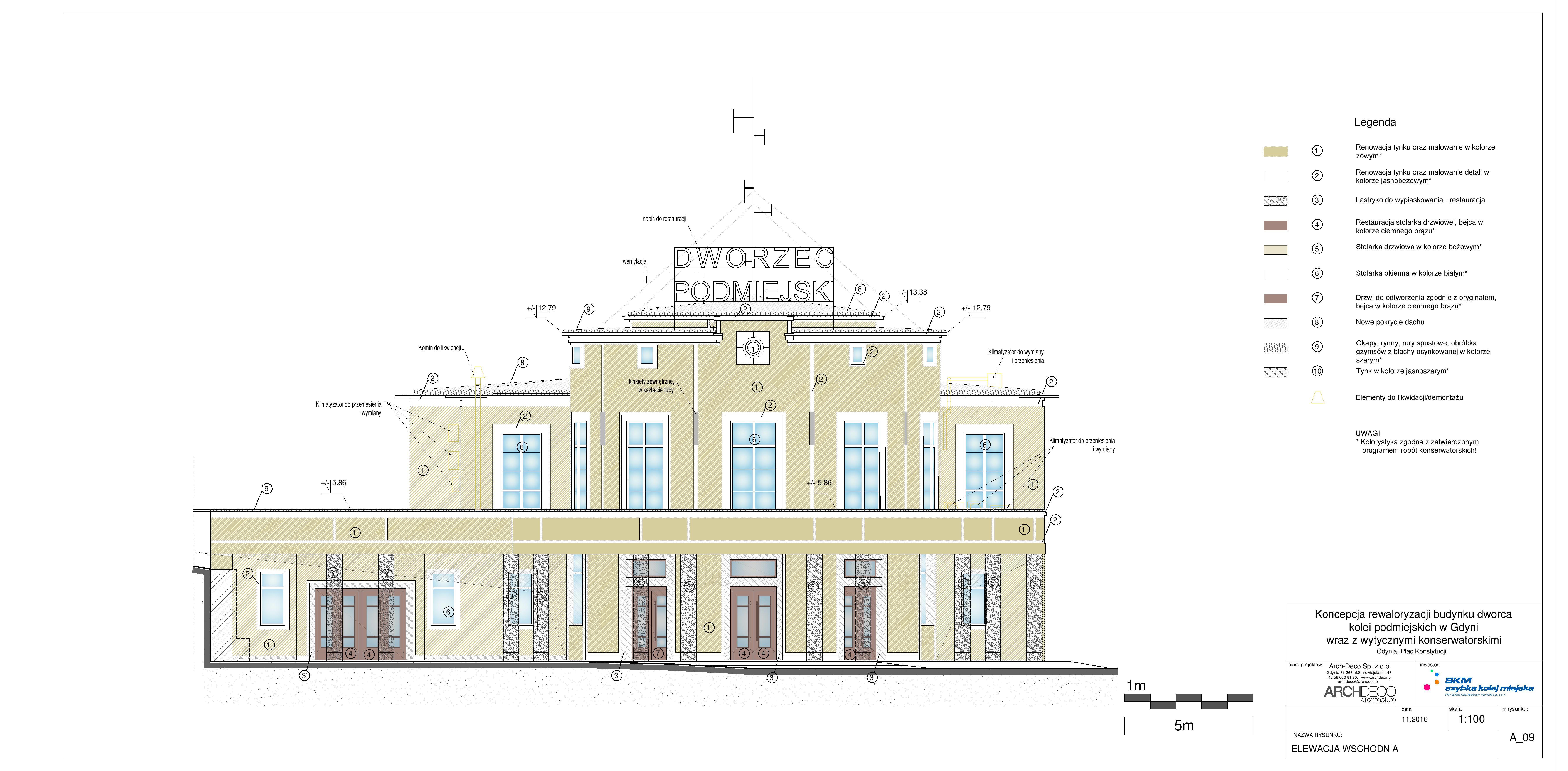 Dokumentacja przetargowa - wizualizacja wschodniej elewacji budynku, mat. PKP SKM