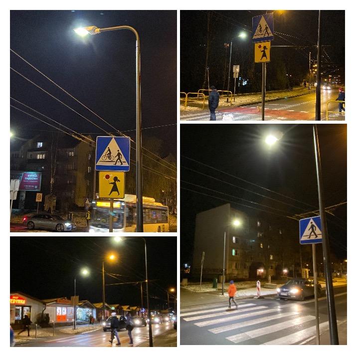 Nowe oświetlenie przejść dla pieszych na Dąbrowie/ fot. ZDiZ