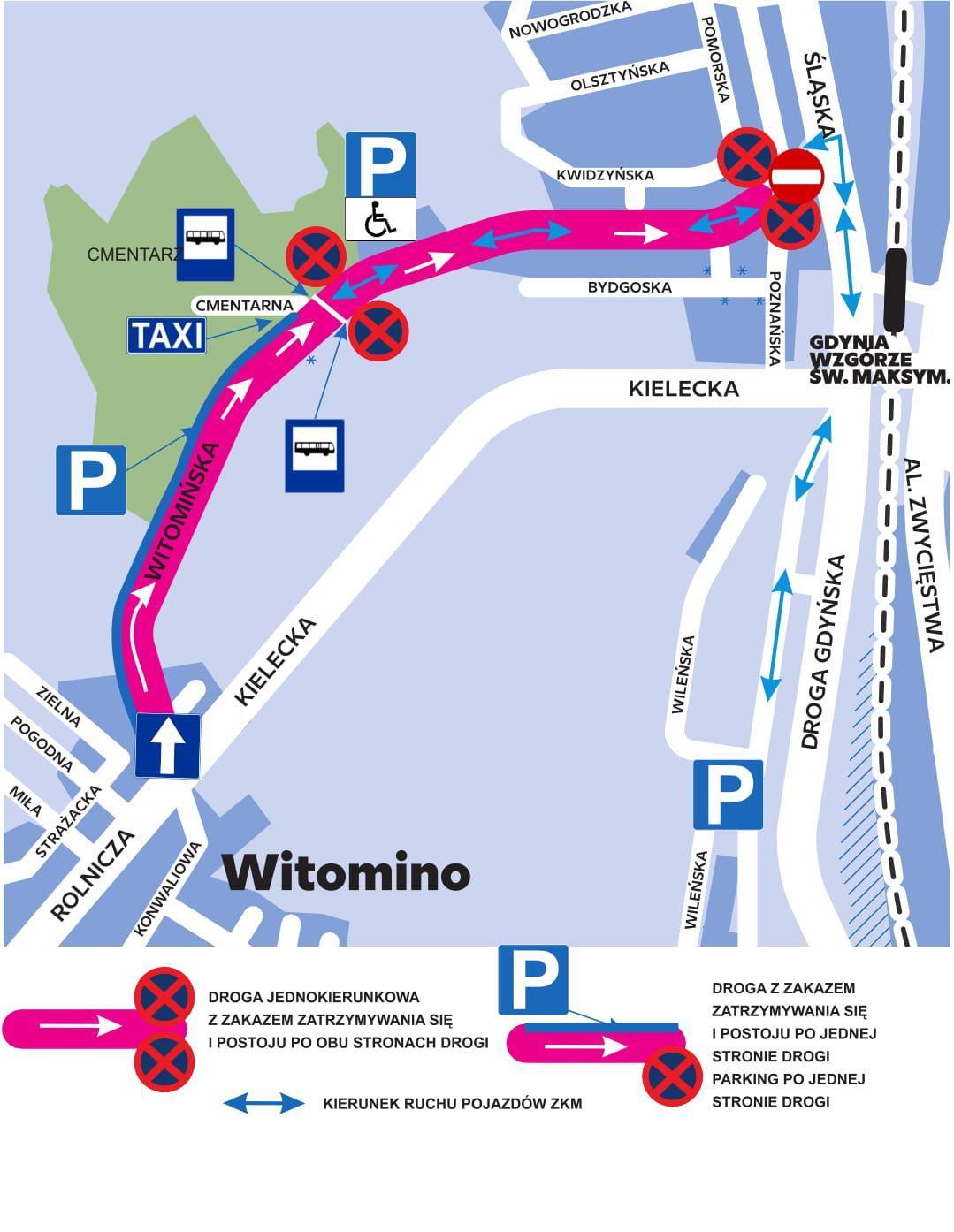 Zmiany w organizacji ruchu w rejonie Cmentarza Witomińskiego będą obowiązywały od środy, 31 października do czwartku 1 listopada