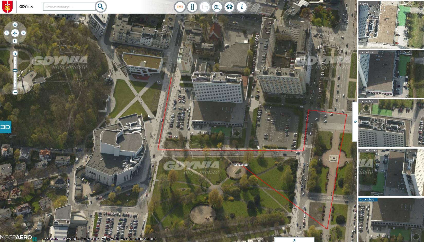 Mapa Gdyni złożona ze zdjęć ukośnych, źródło: gdynia.ukosne.pl