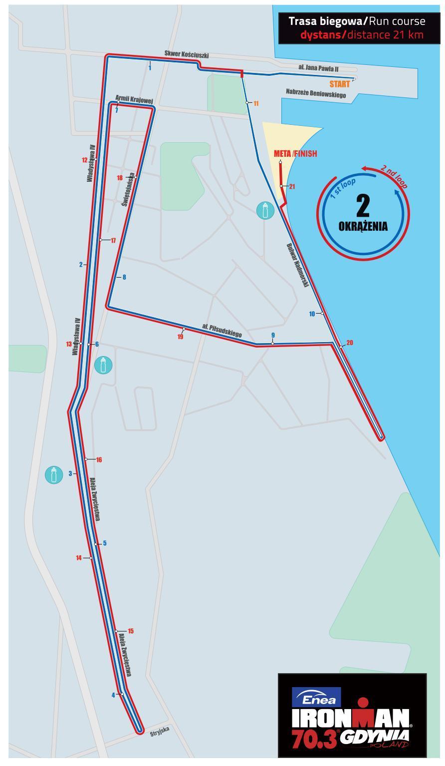 Mapa trasy biegowej IronMan