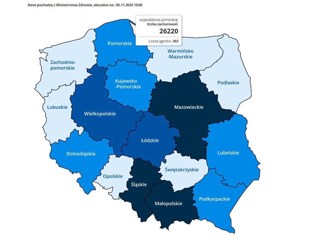 Zrzut ekranu Mapy zarażeń koronawirusem, dostępnej na stronie www.gov.pl. Mapa podzielona jest na województwa. Województwo pomorskie - liczba zachorowań: 26220, liczba zgonów: 363