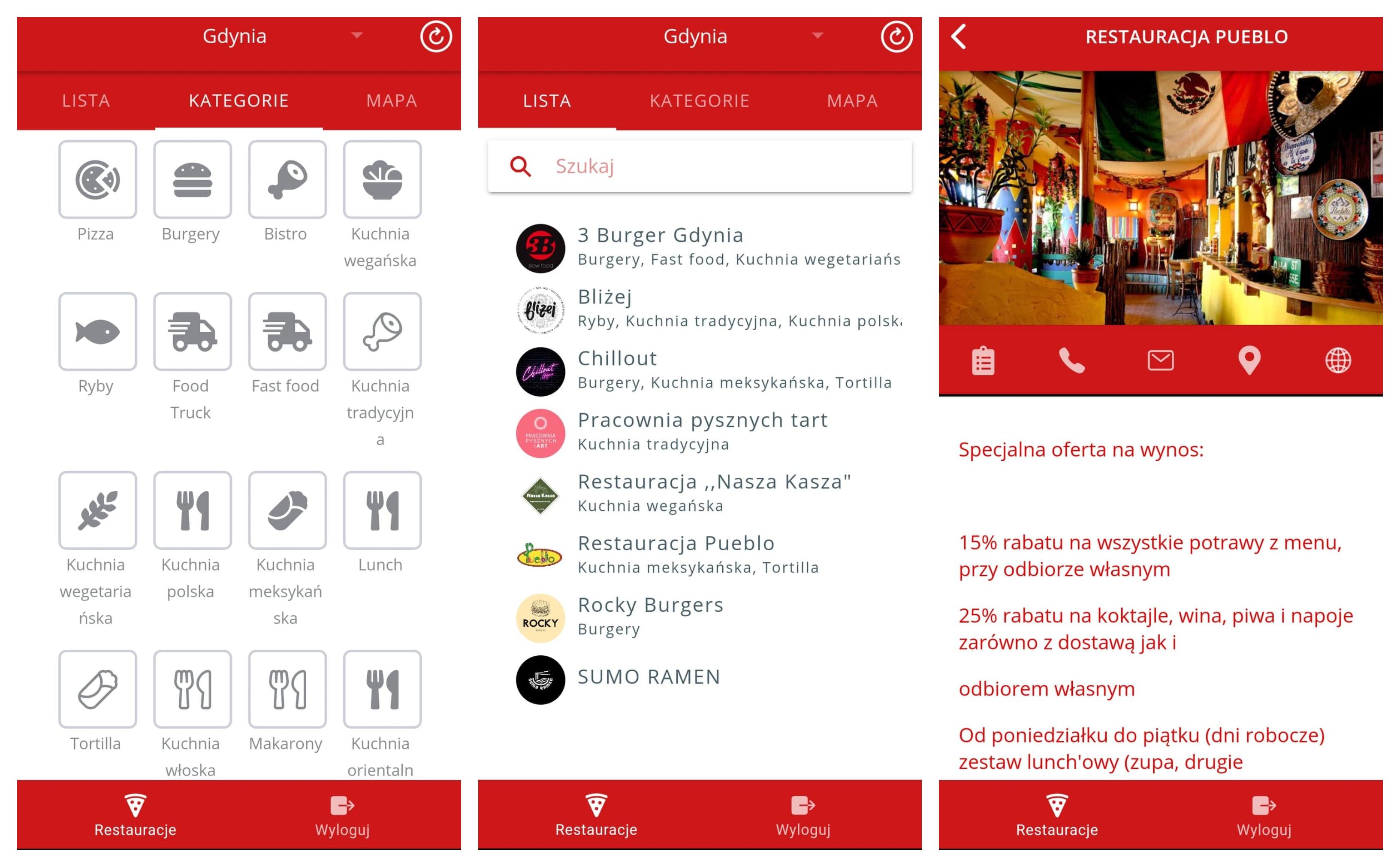 Kolaz zdjęć, trzy zrzuty ekranu aplikacji HelpEat.