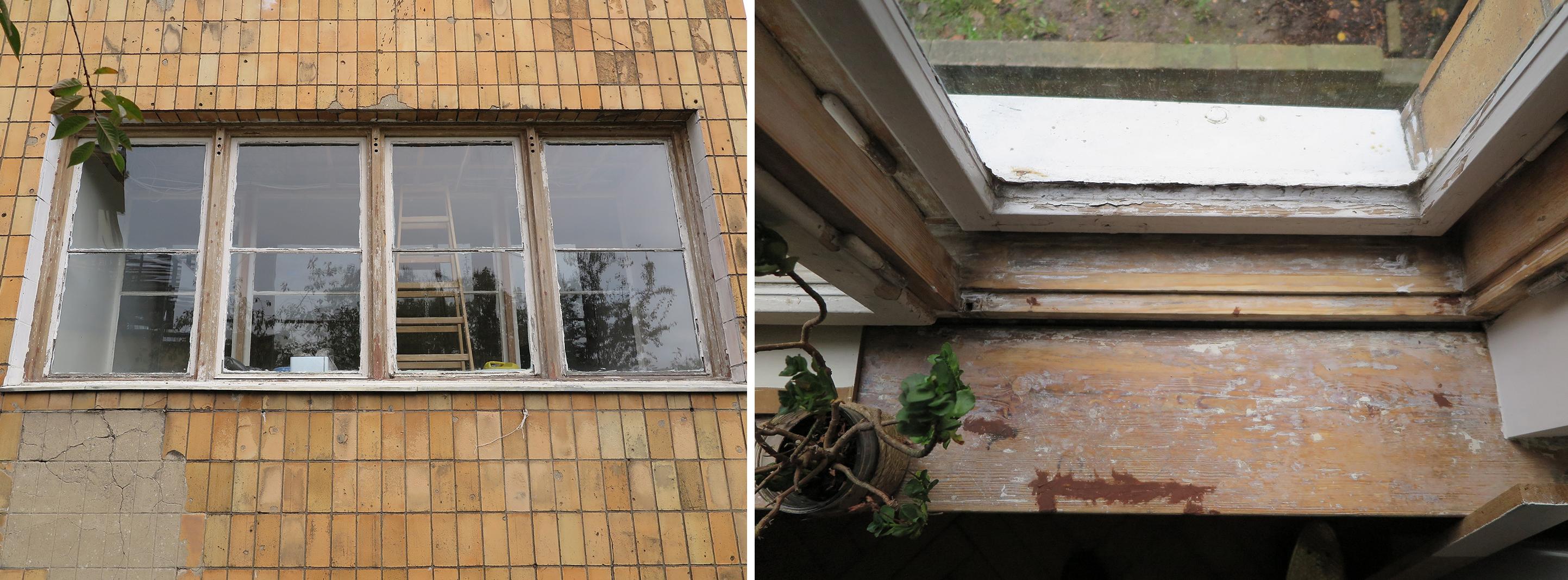 Willa dwurodzinna na Kamiennej Górze, okno w trakcie prac konserwatorskich.
