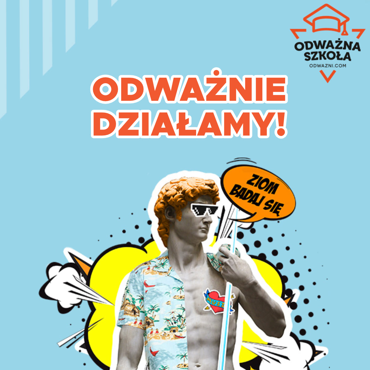 """Grafika programu """"Odważne Szkoły"""". // fot. fb.com/OdwazniWygrywaja"""