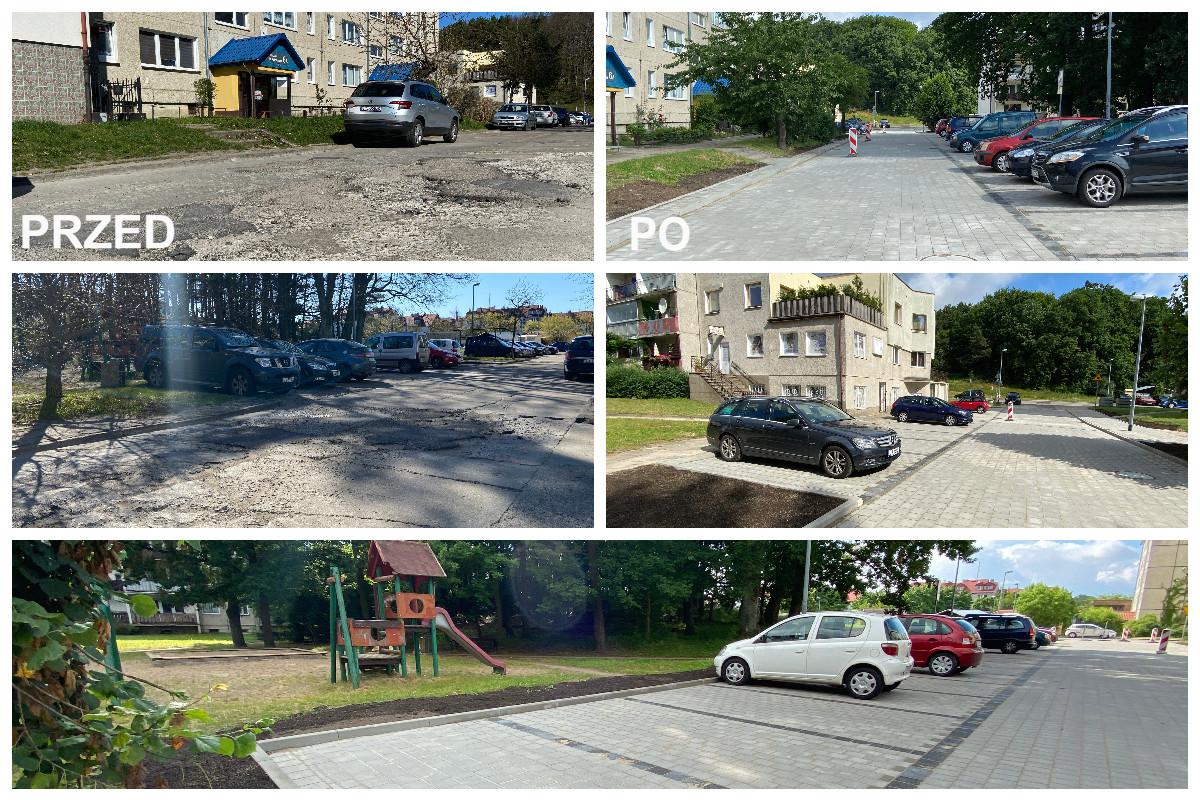 Ulica Kolendrowa pred i po modernizacji // fot. ZDiZ