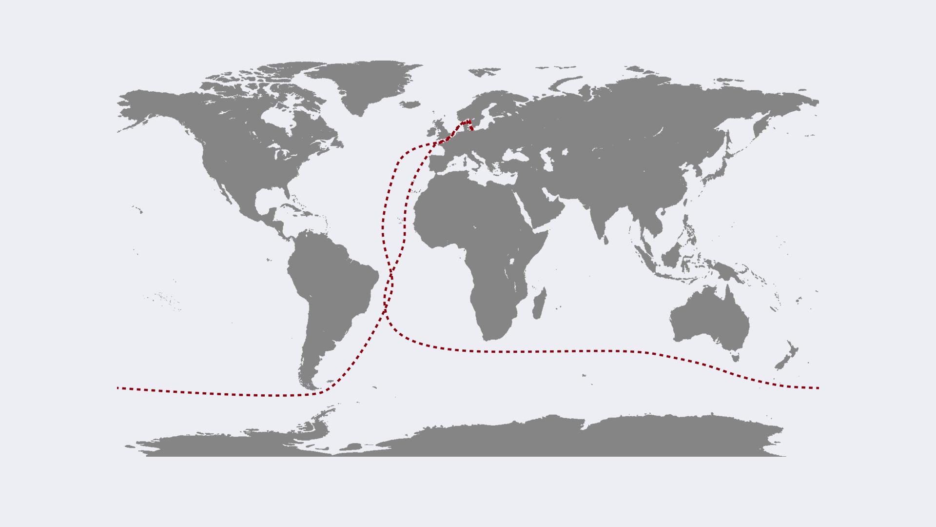 Plan rejsu zakłada m.in. podróż przez cieśninę Sund, Kanał La Manche w stronę Kapsztadu, Australii, Nowej Zelandii przez Przylądek Horn i z powrotem do Gdyni, fot. facebook.com/solononstop2019/
