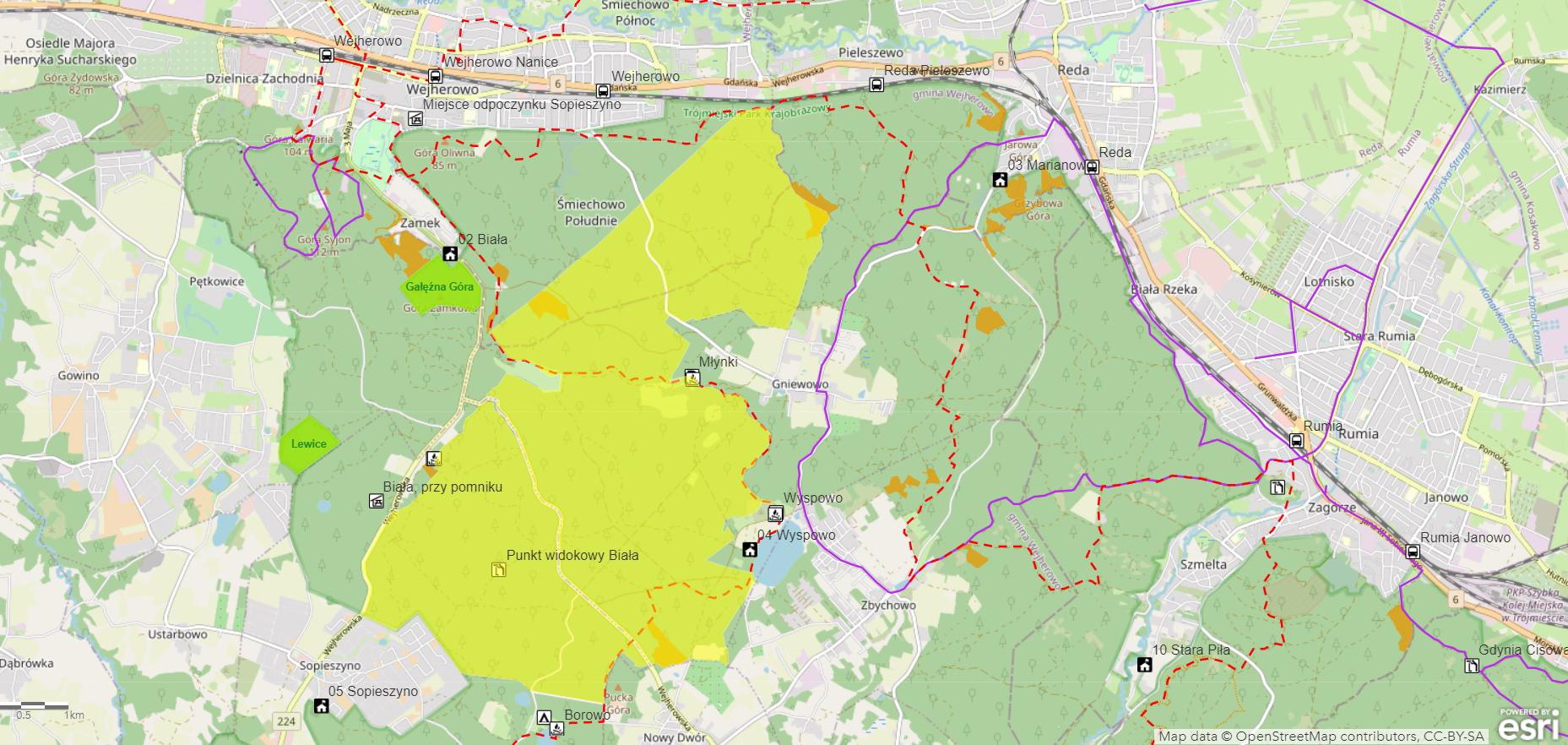 Mapa bushcraftowego obszaru pilotażowego w Nadleśnictwie Gdańsk. Źródło: Lasy Państwowe