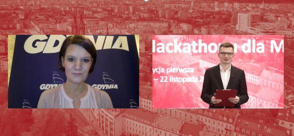 Wiceprezydent Gdyni Katarzyna Gruszecka-Spychała w czasie wystąpienia na Hackathonu dla Miasta