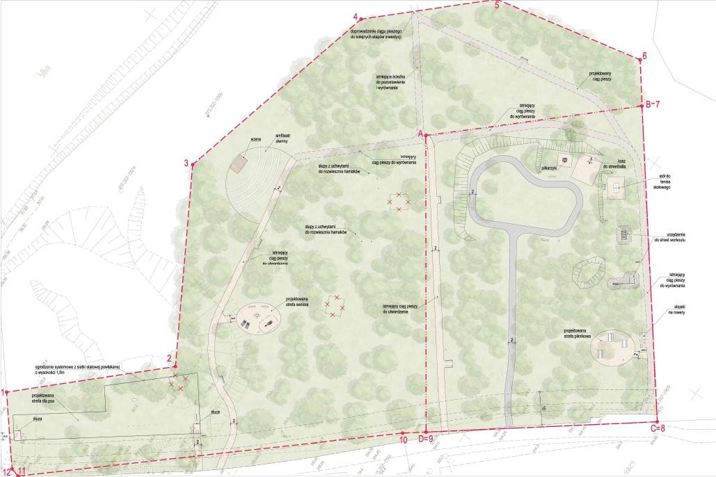 Koncepcja projektowa I i II etapu parku rodzinnego przy ul. Spokojnej na Małym Kacku