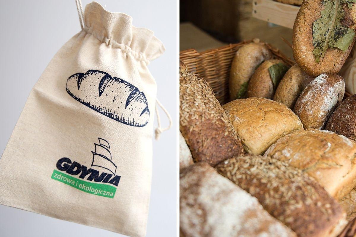 Worki lniane z nadrukowanym logo Gdyni i chleby. // fot. Przemysław Kozłowski; Facebook Jadłostajnia Kolibki