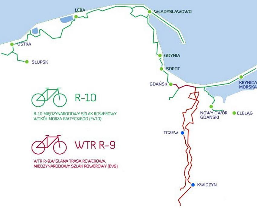 Przebieg szlaku rowerowego EuroVelo 10 w województwie pomorskim. Źródło: pomorskie.eu