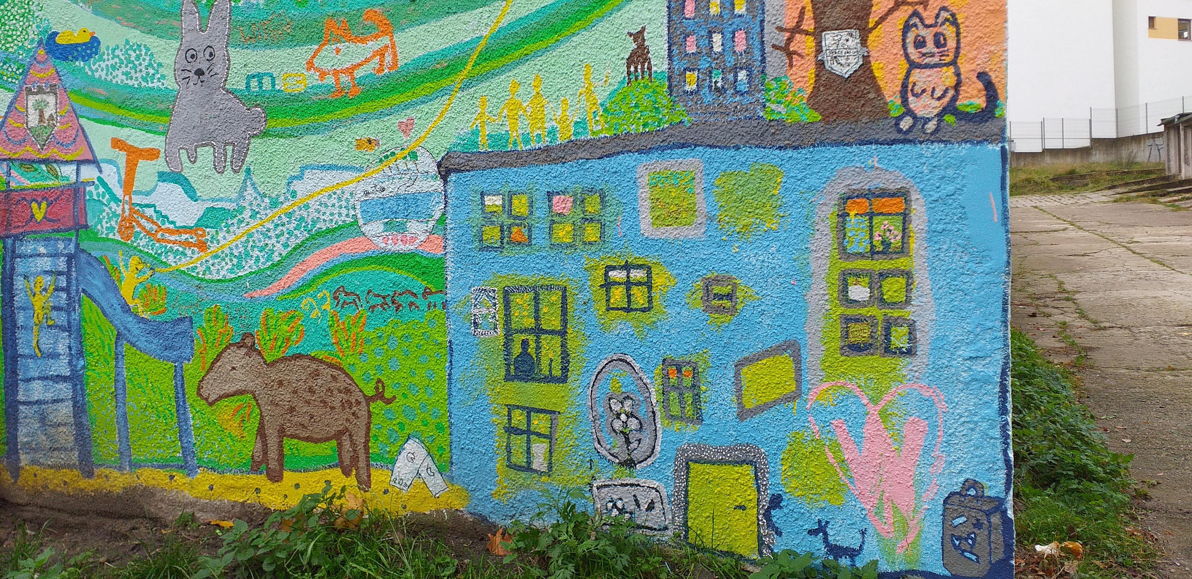 Sąsiedzki mural przy ul. Uczniowskiej